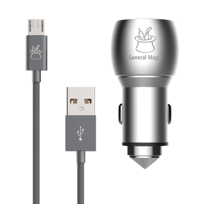 High Power Aluminum Dual USB Car Charger (3.1A/15W) + Braided extra long Micro-USB to USB Cable (2m/6.5ft)