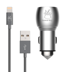 High Power Aluminum Dual USB Car Charger (3.1A/15W) + Braided extra long Lightning to USB Cable (2m/6.5ft)